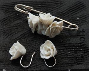 Epingle et boucles d'oreilles en argent 925 et porcelaine - 2019 - Ana Belen Castillo - céramiste