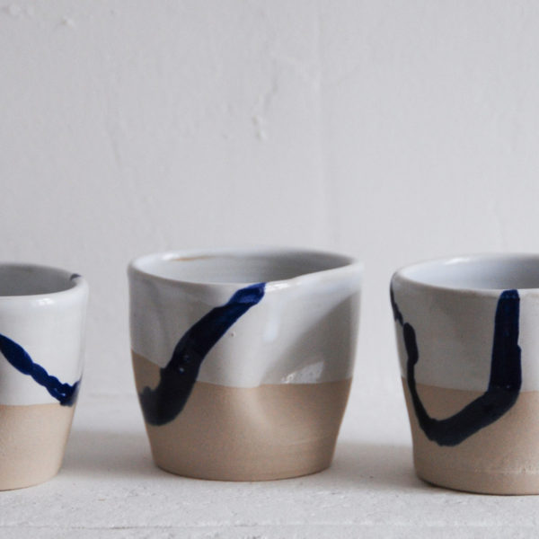 Oil - gobelets empreintes - Ana-Belen Castillo - céramiste